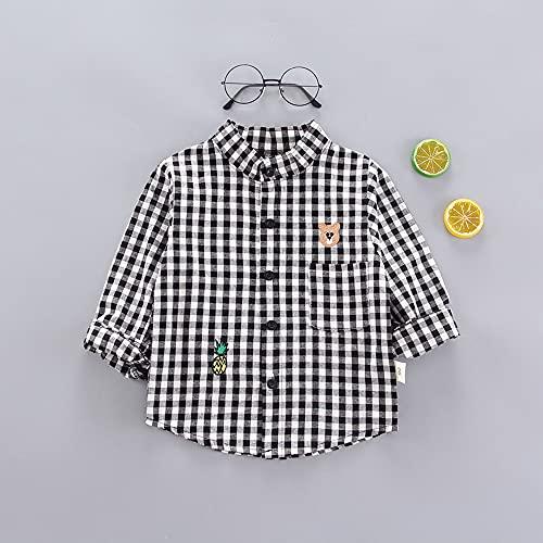 MikeyBee Camisetas delgadas de primavera para bebés de manga larga con estampado a rayas para niños, camisetas casuales (7-negro, 5T)