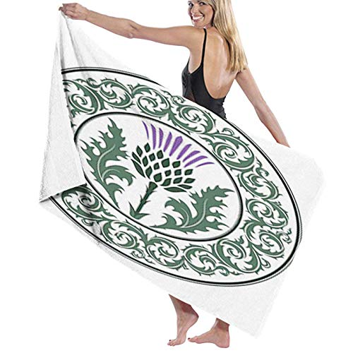 Microfiber Beach Towel,Floral Ornamented Round Leaf Thistle as Symbol of Scotland,Beach Blanket Soft Quick Dry Yoga Towel Suitable for Adults Women men1
