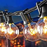 SkrLights Außenlichterkette G40 25 Wolfram Glühbirnen(3 Ersatzbirnen, gelbliches Licht) IP44 Wasserdicht, UL-gelistet für Dekoration, 7,6-Meter Leuchten Hängende Terrassenleuchten, Schwarz