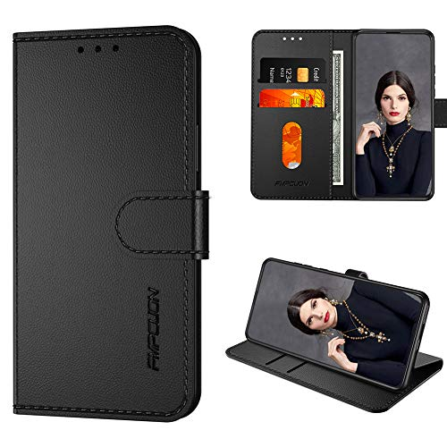 FMPCUON Handyhülle Kompatibel mit Nokia 5.3 (Neueste) Hülle Leder,Flip Etui Handytasche Schutzhülle für Nokia 5.3 (6.55 Zoll) Handy Hüllen,Schwarz