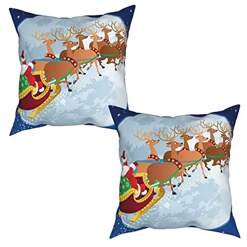 2Pcs Cushion Covers Christmas Night Scenery with Santa Claus on His Sledge Flying to The Moon Square Decorative Throw Pillow Covers for Home, Bed, Sofa-50x50cm