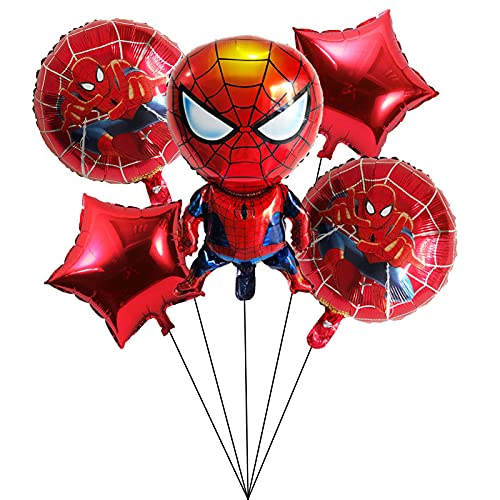 Decoracion Cumpleaños Spiderman Caland Globos de Cumpleaños Foil Helio Globo de Happy Birthday Decoración para Niños Decoraciones de Fiesta 5 Piezas