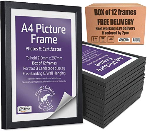Marco de fotos A4 de 4 x 90, color negro, paquete de 12 marcos de fotos de plexiglás para colgar en la pared