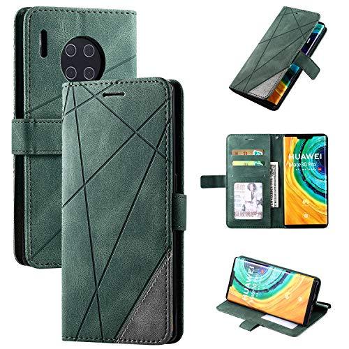 Snow Color [Huawei Mate 30 Pro Hülle, Premium Leder Tasche Flip Wallet Case [Standfunktion] [Kartenfächern] PU-Leder Schutzhülle Brieftasche Handyhülle für Huawei Mate30 Pro - COMS010310 Grün