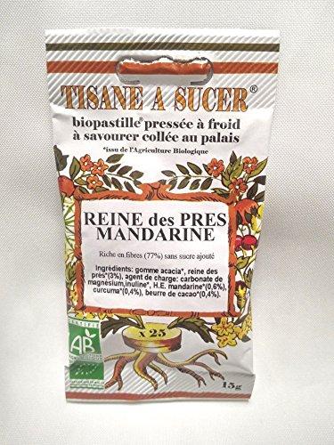 Bio Pastilles Tisane à Sucer Reine des Prés et Mandarine Bio - 15g - 25 pastilles
