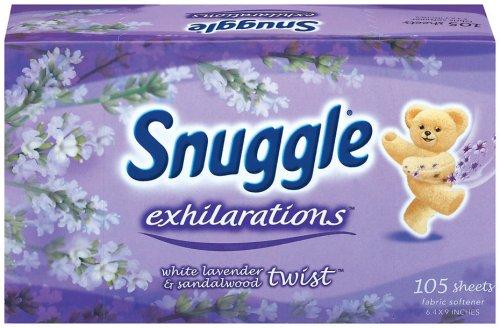 Snuggle Exhilarations White Lavendar & Sandalwood Twist Fabric Sheets, Purple, 105-Sheet Box (Pack of 6)
