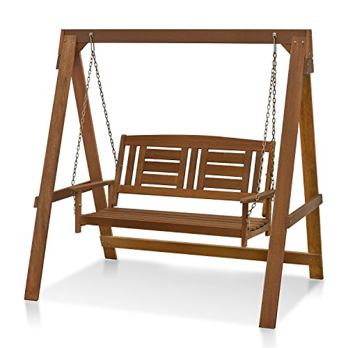 Furinno FG16409 Tioman Hardwood Patio Furniture Porch Swing with Stand in Teak...