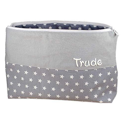 Kulturbeutel Sterne grau 25x17cm mit Namen Kulturtasche Beauty Bag Waschtasche Schminktasche Kosmetiktäschchen personalisiert für Jungen - Männer - Herren