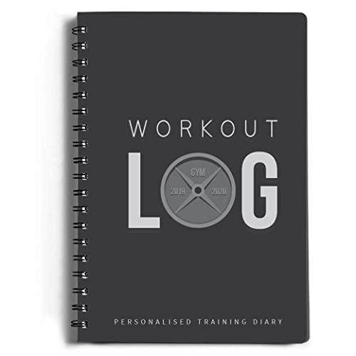 Workout Log Gym (Grey) – A5 Sized Training and Gym Diary - Track 100 Workouts and Your Progress in Full Detail