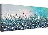 Wallfillers - Lienzo moderno de colores turquesa y crema con...