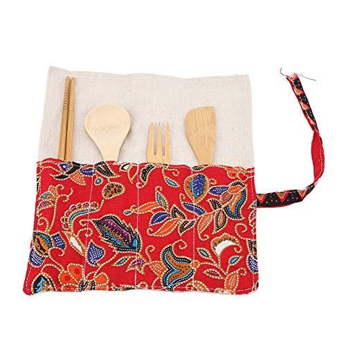 Antilog Bestek Set, Bamboe Bestek Set Japanse Stijl eetstokjes Mes Vork Lepel Vierdelige Set