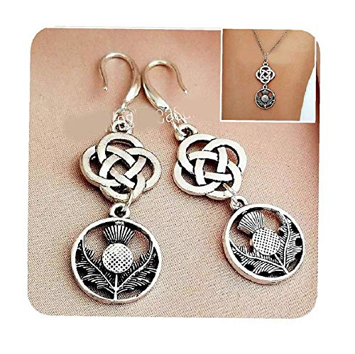 Scottish Thistle Jewelry Gift for Women, Irish Celtic Thistle Earrings and Necklace, Celtic Friendship Gift, Love Knot Jewelry gifts