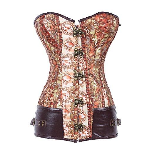 FeelinGirl Vintage corsagetop Mujer corsé con Brocado patrón–Cadenas con Remaches–Varillas de Acero gótico/Steam Punk Marrón XL/Talla 38-40