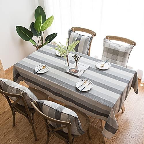 CYYyang Cubierta de Mesa de Simples Adecuado para la decoración de cocinas caseras, Varios tamaños Tela Escocesa de Rayas Impermeables de Lino teñido en Hilo