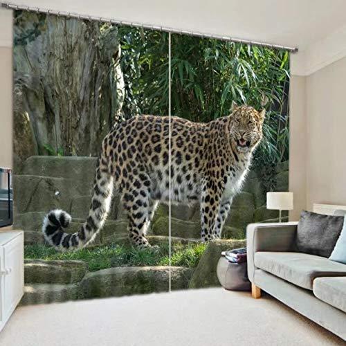 MAOYYM2 Kids Slaapkamer Luxe Verduistering 3D Raam Gordijnen Voor Woonkamer Dier Tijger Print H85 X W105Inch