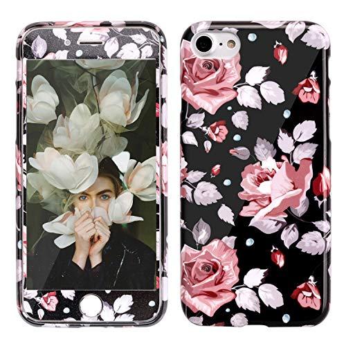 MANUKA Cover per iPhone 7,Custodia iPhone 8 + Protezione per Schermo in Vetro Temprato 9H, Silicone Antiurto TPU Anti-Graffio Motivo Floreale Phone Case per Apple iPhone 7/8 -Rose