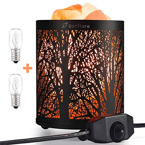 Salt Lamp, Natural Himalayan Salt Lamp, Zanflare Salt Night Light in Forest Design Metal Basket with Dimmer Switch, Mother's Day Gift
