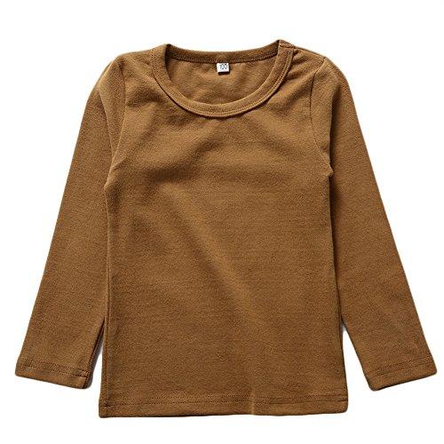 BINIDUCKLING Kids Basic Top Mädchen Jungen Langarm-T-Shirt, Kaffee, 5T