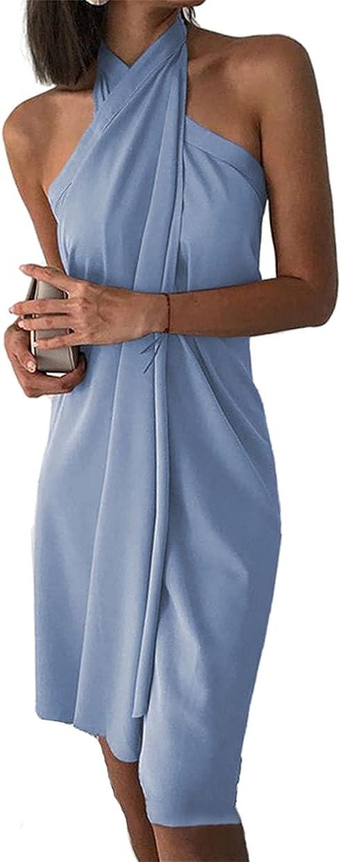 FRMUIC Women's Sexy Off Shoulder Dress Halter Neck Loose Irregular Casual Beach Dress Solid Color Dress