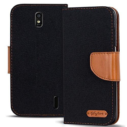 Verco Ascend Y625 Hülle, Schutzhülle für Huawei Y625 Tasche Denim Textil Book Hülle Flip Hülle - Klapphülle Schwarz