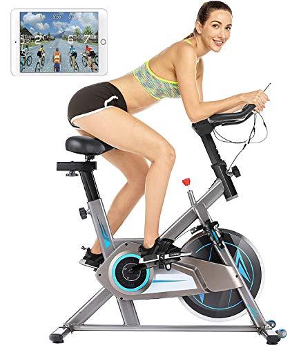 Heimtrainer Fahrrad, Indoor Cycling Bike Fitnessbike, Einstellbarer Widerstand, LCD-Monitor, Leise für das Cardio-Training im Fitnessstudio zu Hause (APP-Version grau blau)