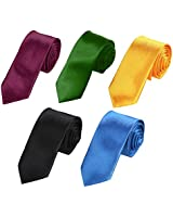 Dan Smith DAN2020 Wedding Multicoloured Plain Woven Microfiber 5 Skinny Ties Set Thank You Formal Wear