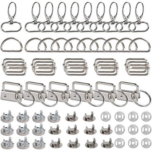 QLOUNI 46 stück Nähen Handwerk Set, D-Ringe Schiebeschnalle, Triglide Gurtversteller,Drehbare Schiebeschnalle, Magnetknopf Magnetverschluss, Drehverschlüsse für DIY Tasche Rucksack Zubehör