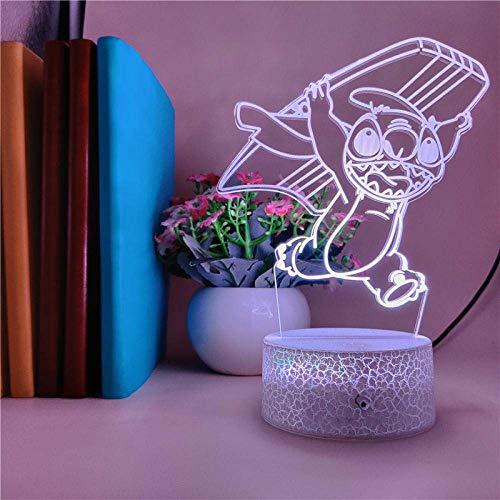 Lámpara De Ilusión 3D Luz De Noche Led 7 Colores Que Cambian Lilo & Amp;Stitch Cute Cartoon Surfing Modeling Lámpara De Mesa Juguetes De Cumpleaños Para Niños Regalos