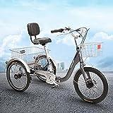 Triciclo para adultos Tricicletas Plegables Para Adultos 7 Plegables Con Triciclos Adultos 3 Bicicletas De Ruedas Con Triciclo Plegable A Paso Bajo Con Cesta Para Adultos Mujeres Hombres M(Size:Negro)