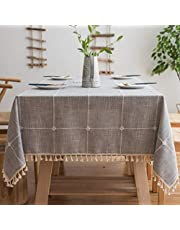 Pahajim Linen Rectangle Tablecloth Table Cloth Heavy Weight Cotton Linen Dust-Proof Table Cover for Party Table Cover Kitchen Dinning (Gray, Rectangle/Oblong,55 x 87 Inch)