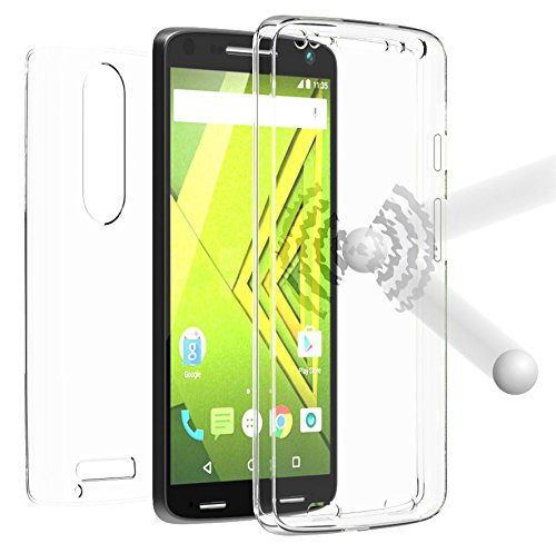 New BEYOND CELL TRI-MAX Transparent Clear CASE Screen Guard Protector TPU Slim Cover for VERIZON Motorola Droid Turbo 2 Phone (aka Moto X Force) XT1580 XT1585