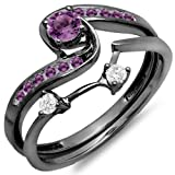 Dazzlingrock Collection Black Rhodium Plated 10K Round Diamond & Amethyst Bridal Engagement Ring Set, White Gold, Size 8