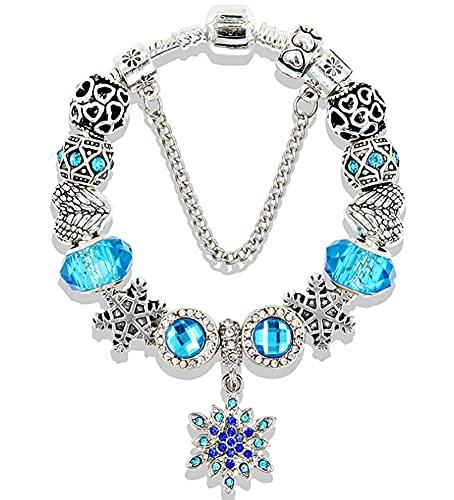 CHXISHOP Braccialetto da donna con strass intarsiati a forma di fiocco di neve, argento antico con ali a forma di cuore in perline con foro grande e temperamento, colore: blu