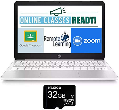 2020 HP Stream 11.6 Inch Non-Touch Laptop, Intel Atom x5 E8000 up to 2.0 GHz, 4GB RAM, 64GB eMMC, Win10 S (1 Year Office 365 Personal Included), White + NexiGo 32GB MicroSD Card Bundle