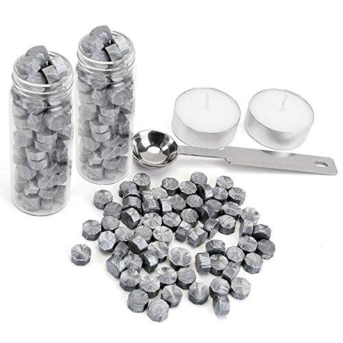 Mogoko - 2botellas (120piezas) octogonales de sellado de cera sello de cera de perlas conjunto todo en uno para plata