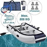 ArtSport Schlauchboot grau mit Aluboden – aufblasbar- für 4 Personen- 3,20 Meter – Paddelboot inklusive Paddel Pumpe und Tasche – Angelboot - Angeln