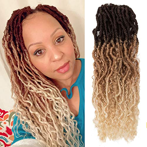 NOBLE GIRL Curly Goddess Locs Crochet Hair 20 inch Ombre Brown Faux Locs Crochet Hair 5pack Wavy Braiding Hair with Curly Ends Pre-Looped Synthetic Crochet Braids(20 inch, Ombre Brown)