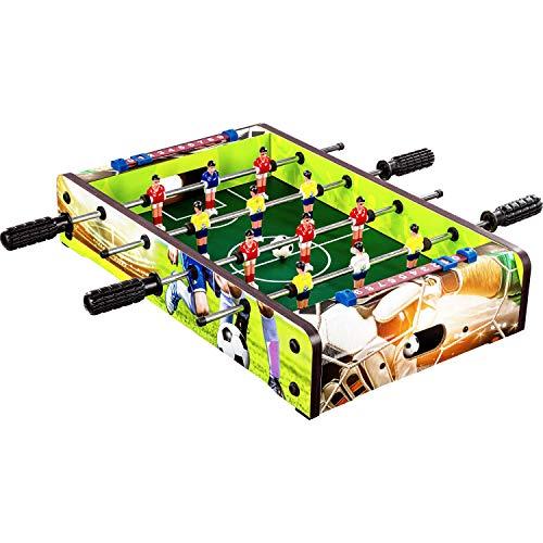 "Maxstore Mini-Tisch-Kicker Tischfussball ""Dundee"", Soccer Dekor, Maße: 51x31x8 cm, Gewicht: 2,6 kg, 4 Spielstangen, inkl. 2 Bälle"