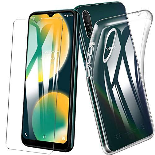 HYMY Hülle für Wiko View 4 + 1 x Schutzfolie Panzerglas - Transparent Schutzhülle TPU Handytasche Tasche Durchsichtig Klar Silikon Hülle für Wiko View 4 (6.52