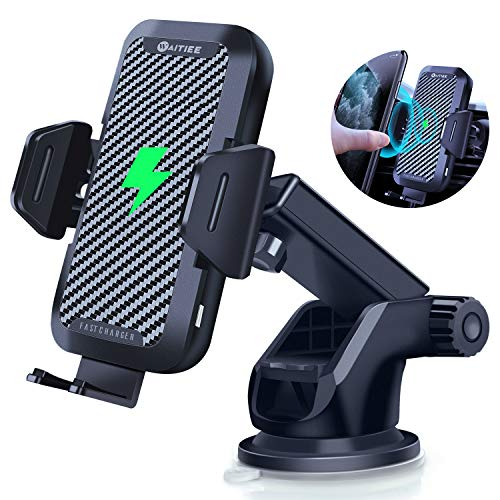 WAITIEE Wireless Car Charger Mount 15W Fast QI Charging Mobile Phone Car Charger, Auto Clamping Vent Dashboard for iPhone 12/11/11 Pro / 11 Pro Max/XS/XR/X / 8 Plus / 8 / Samsung/Google/LG