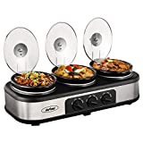 Slow Cooker Crock Pot, Triple Slow Cooker Buffet Server 3 Pot Crock Pot Food Warmer, 3-Section 1.5-Quart Oval Slow Cooker Buffet Food Warmer Adjustable Temp Lid Rests Stainless Steel,Total 4.5 QT