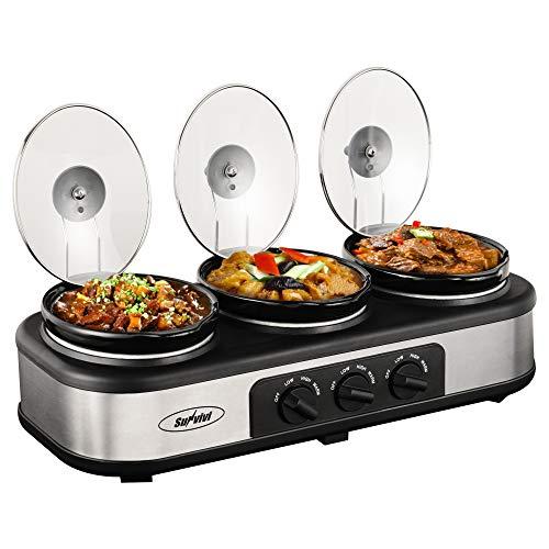 Slow Cooker, Triple Slow Cooker Buffet Server 3 Pot Food Warmer, 3-Section 1.5-Quart Oval Slow Cooker Buffet Food Warmer Adjustable Temp Lid Rests Stainless Steel,Total 4.5 QT