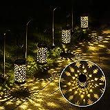 GIGALUMI Solar Pathway Lights, 6 Pack Solar Lanterns Outdoor Solar Lights Decorative Waterproof, Hanging Solar Lights Star Moon Solar Landscape Lights Outdoor for Walkway, Garden, Patio, Lawn, Yard