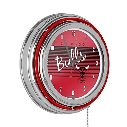 Trademark Global NBA Chicago Bulls Chrome Neon Clock, Taglia Unica, Cromato