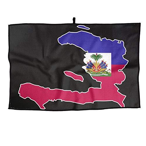 Buy JJCSTE.C Microfiber Golf Towel Haiti Flag Map Sports Gym Towel for Golf, Yoga, Sport, Running, G...