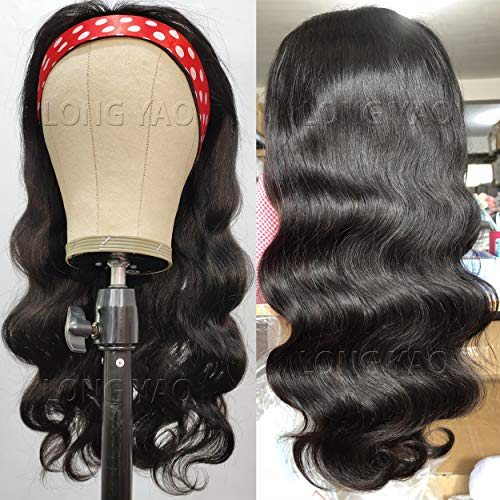 LONG YAO Headband Wigs For Black Women Human Hair Body Wave Headband Wig Human Hair Body Wave Can be Restyled into Straight or Curly None Lace Front Wigs Machine Made Wigs Brazilian Virgin Hair Wigs Glueless Natural Black (10 Inch, Wig Body Wave)