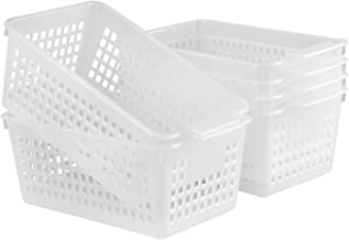 YYQX Clear Plastic Storage Basket/Trays, 6 Pack Plastic Storage Organizing Baskets, Weave Basket Bins with Handle,for Pant...