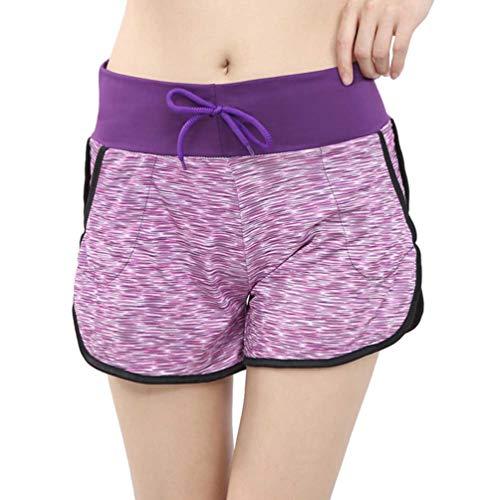CLISPEED Pantaloncini da Yoga per Allenamento Donna Pantaloncini Sportivi con Coulisse Pantaloncini da Corsa Ad Asciugatura Rapida Traspiranti per Il Fitness a Casa Viola