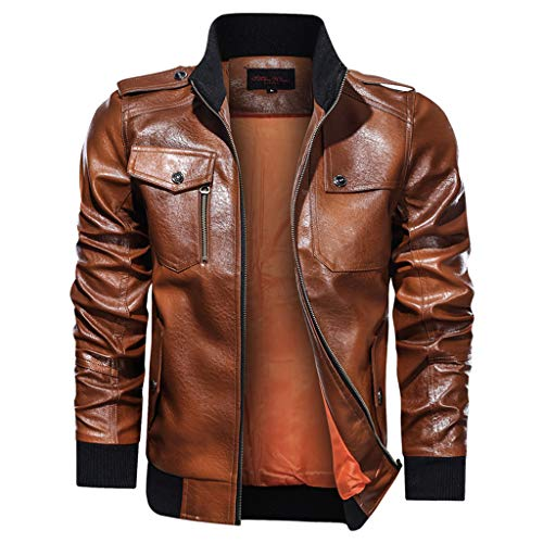 Mousmile Men's Faux Leather Jacket Full-Zip Stand Collar Motorcycle Bomber Jacket Warm Heavyweight Biker Coat w/Pocket (Brown, XXL)