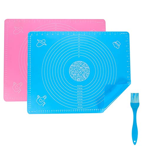 Thursday April 2 Pack Silicone Baking Mats Large Pastry Rolling Mat Non-Stick Kitchen Cooking Mat Professional Silicone Fondant Mat with 1 Brush(40 x 50cm)